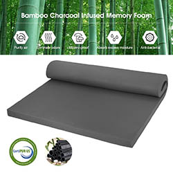 LANGRIA 2-Inch Bamboo Charcoal Infused Memory Foam Mattress Topper