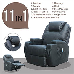 MSG Massage Recliner Leather Sofa Chair