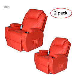 Tenive Deluxe PU Leather 360 Degree Swivel Rocker Massage Recliner