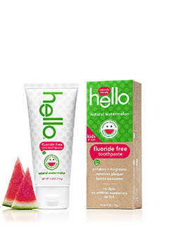 Hello Oral Care Kids Fluoride Free Toothpaste, Natural Watermelon