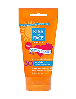 Kiss My Face Tattoo Shade Sunscreen Sunblock Lotion