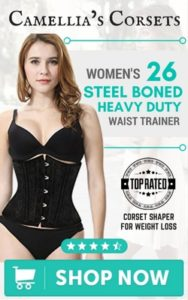 Camellia's Corsets Women's 26 Steel Boned Heavy Duty Waist Trainer Corset Shaper for Weight Loss